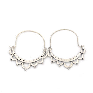 Semicircle Hollow Out Flower Hoop Earrings