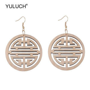 Round Wooden Hollow Earrings