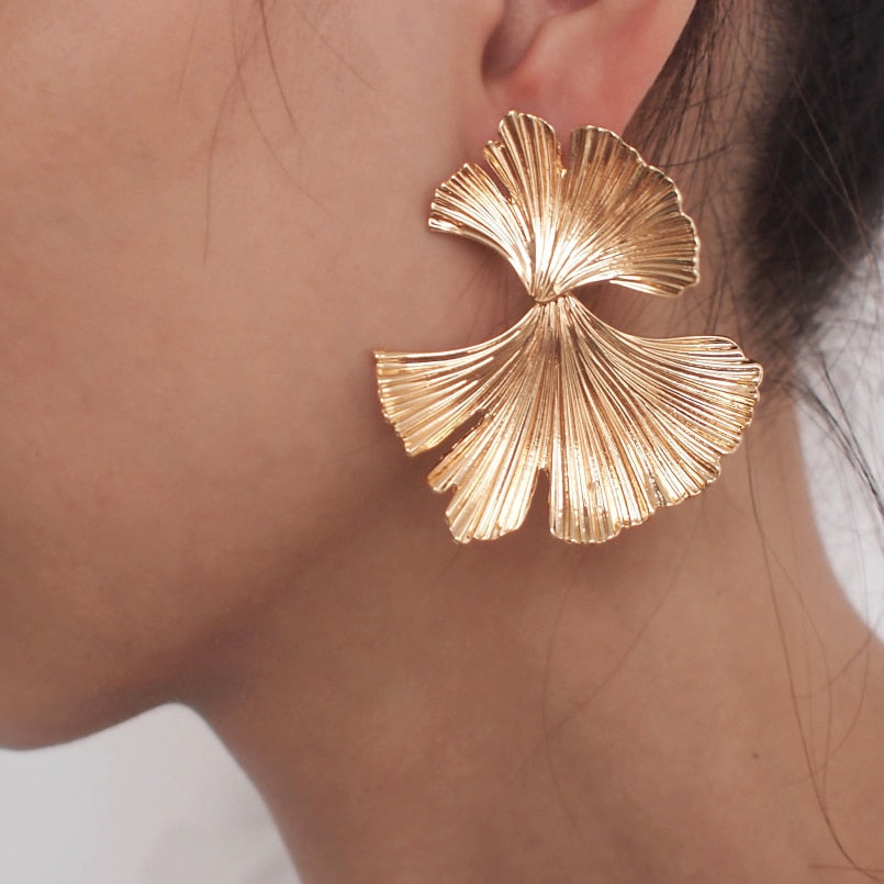 Bohemian Gold Color Ginkgo Leaf Drop Earrings