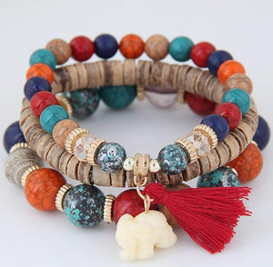 3pcs/set Wooden Beads Elephant Bracelet