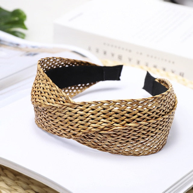 Summer Straw Weaving Knotted Headband
