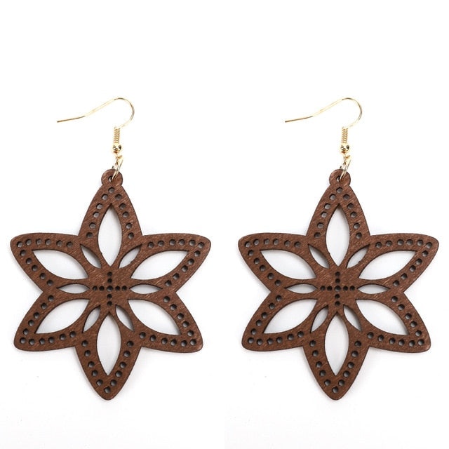Carved Wood Lily Flower Pattern Earrings