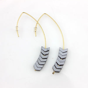 Natural Stone Simple Chevron Earings