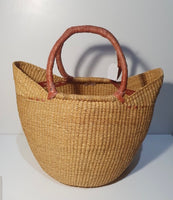 Handwoven U-Shopper Basket - Short leather handle