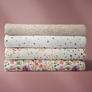 Stack of four Family Fabric Fabrics. Floral fabric, paint splatter fabric,moon fabric, tiny brown dots with white background