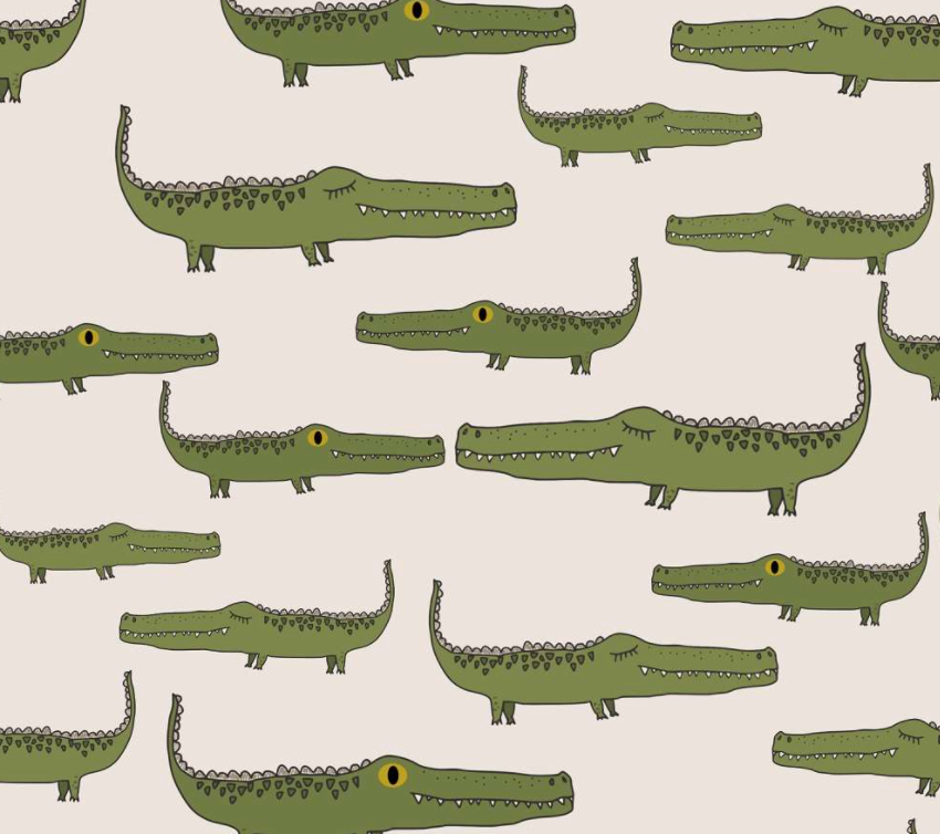 Lillestoff organic cotton jersey knit fabric, green alligators on a taupe background .