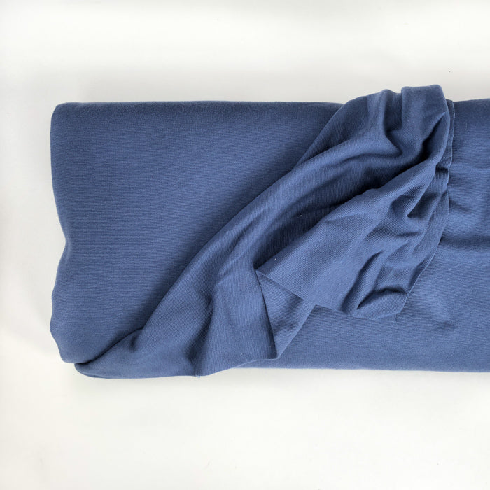 Blue Solid Organic Cotton Jersey Knit