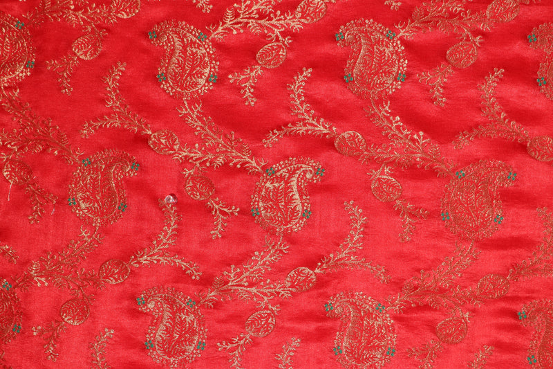 Red Brocade Paisley motif