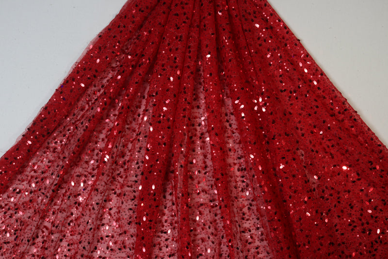 Red embellished sequin embroidered net