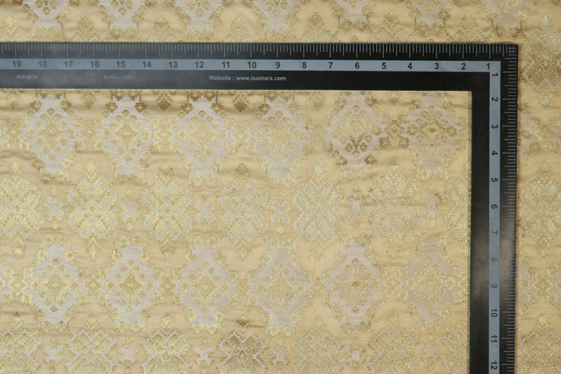 Cream geometric brocade
