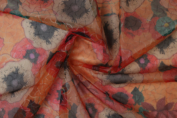 Orange red abstract floral print organza