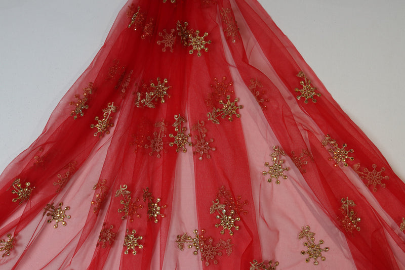 Red claasic floral stone embroidered net
