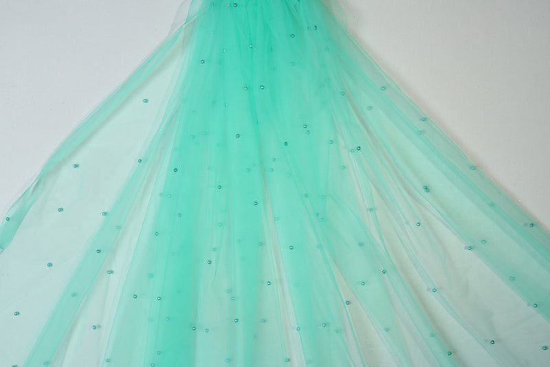 Mint green pearl design net