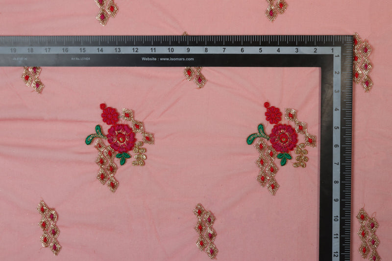 Red geometric and floral pattern embroidered net
