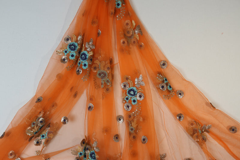 Orange blue golden floral Embroidered Net