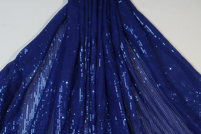 Blue monochrome sequins embroidered georgette