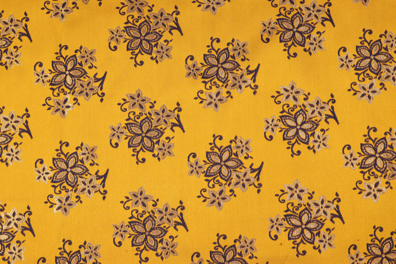 Yellow Blue double sided floral brocade