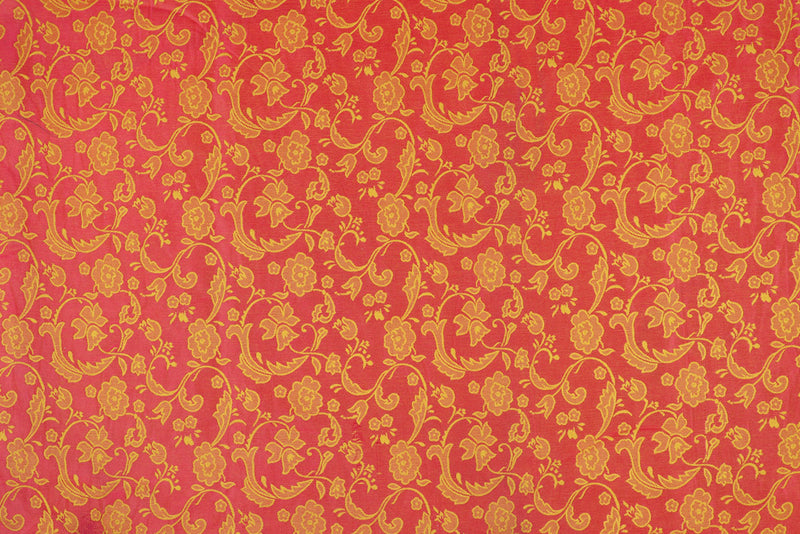 Pink Yellow double sided floral design brocade