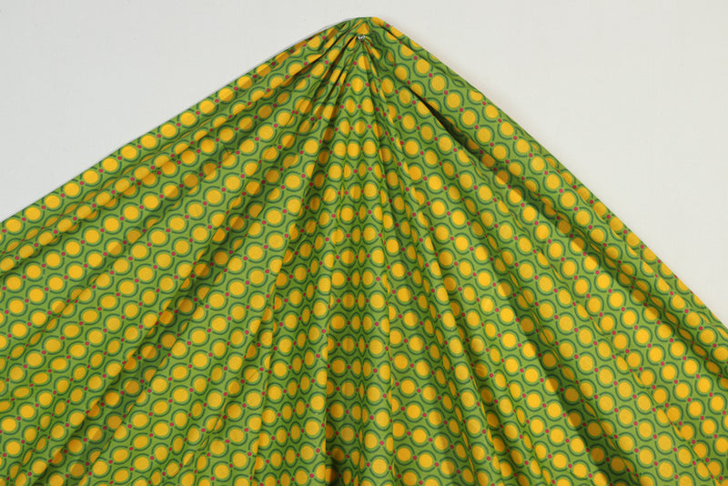 Yellow green circular printed cotton