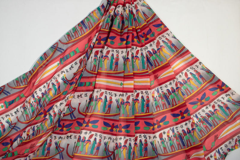 Red grey Egyptian printed georgette