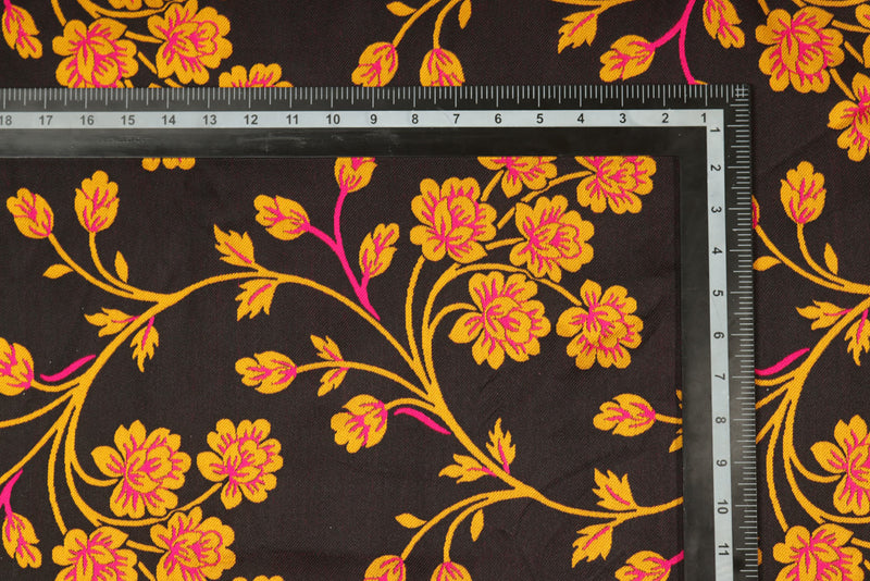 Black Yellow double sided classic floral brocade