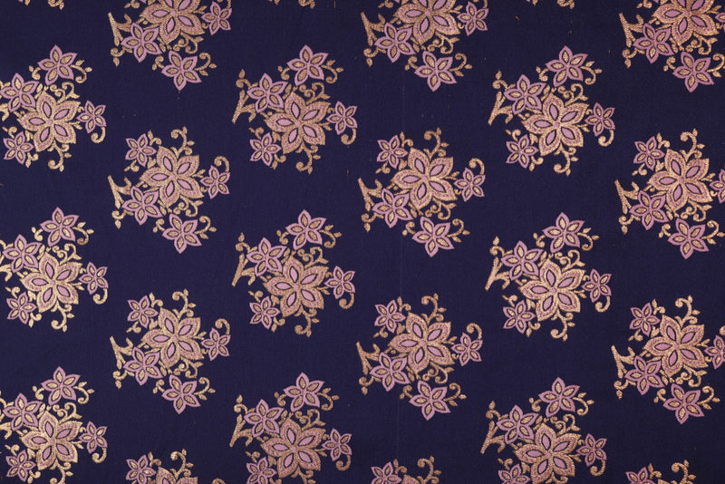 Pink Blue double sided floral brocade