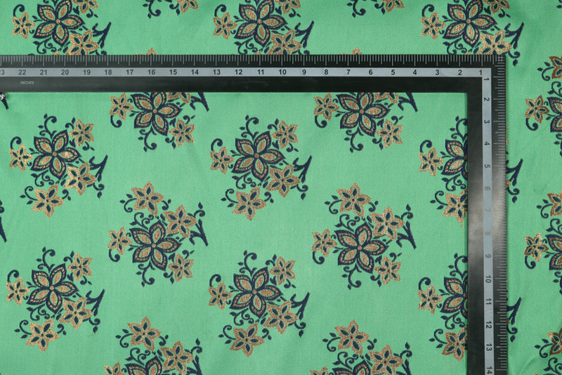 Green Blue double sided floral brocade