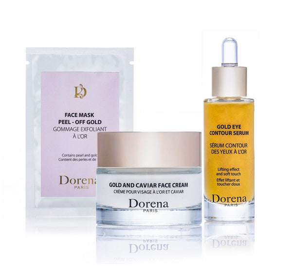 face mask peel off gold, gold and caviar face cream, golg eye contour serum from Dorena cosmetics made in France