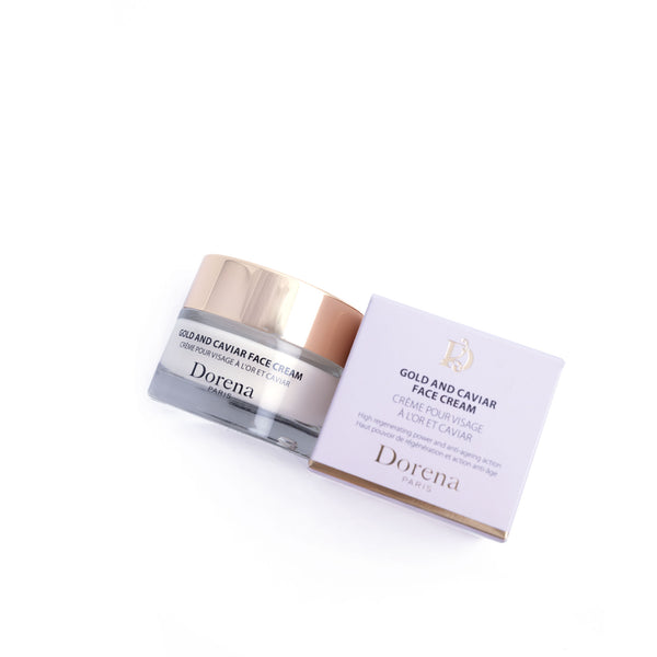 gold and caviar face cream from Dorena cosmetics made in france, Paris and box for it