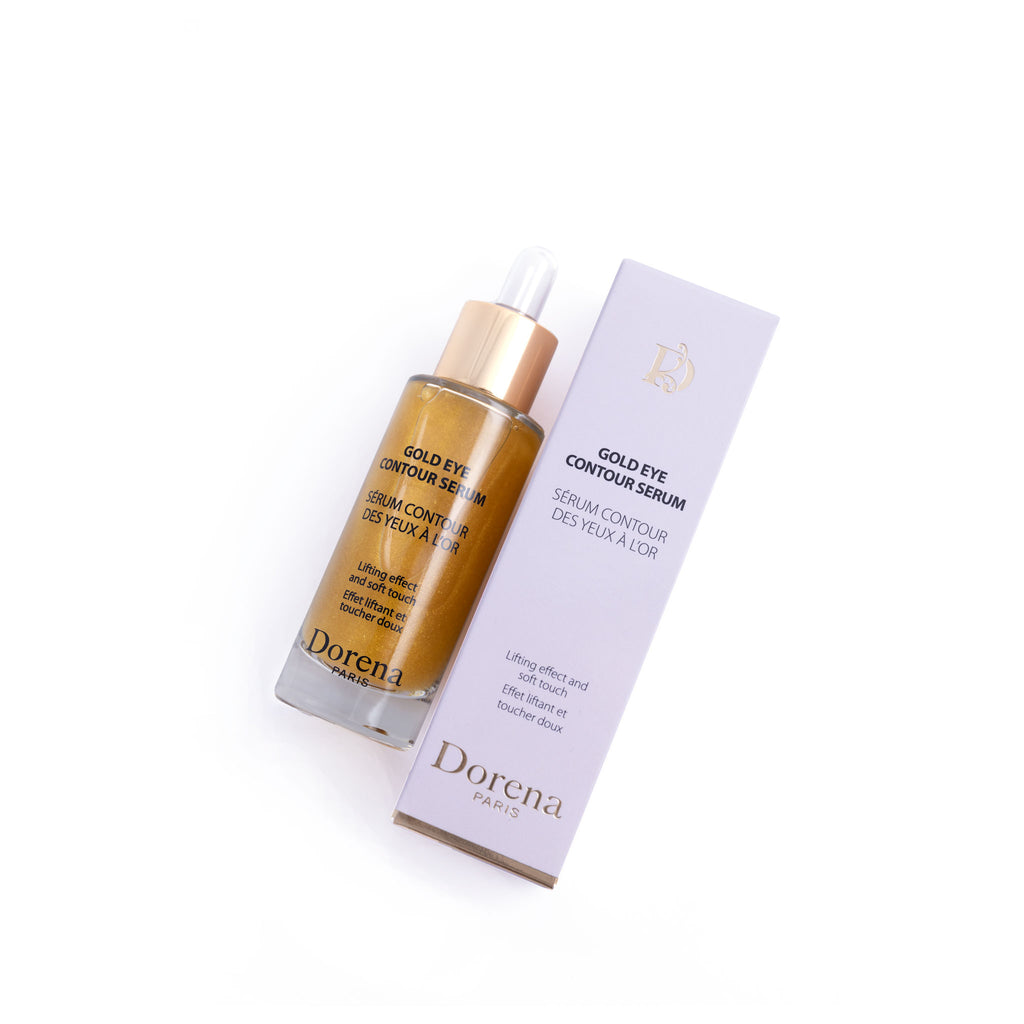 gold eye contour serum from Dorena cosmetics made in France,Paris and box for it