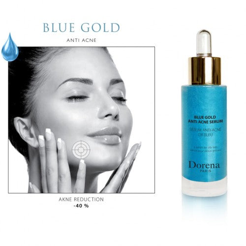 blue gold face serum from Dorena cosmetics made in France aplied on face