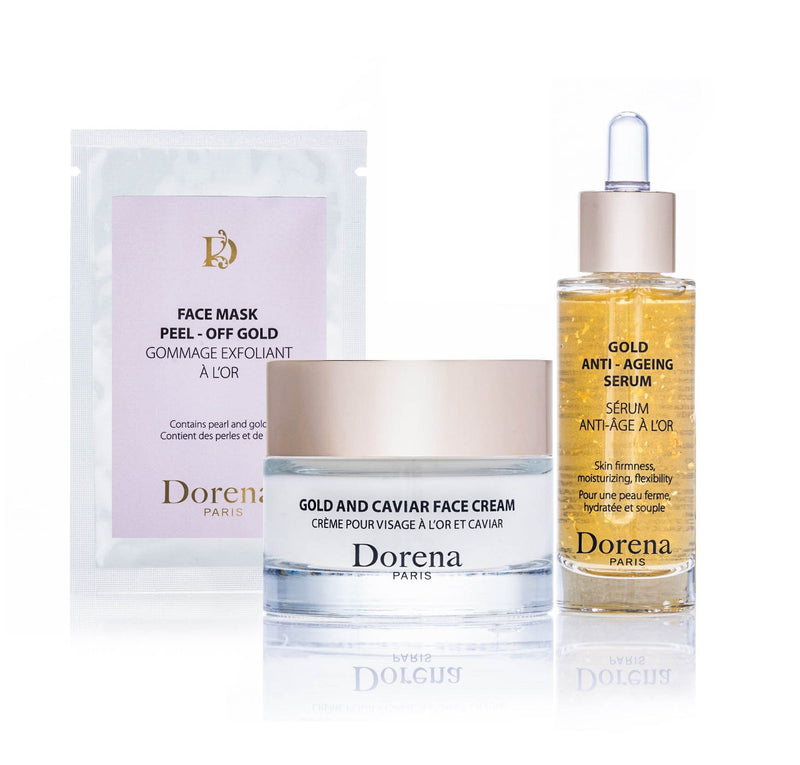 face mask peel off gold, gold and caviar face cream, gold anti ageing serum from Dorena cosmetics made in France.