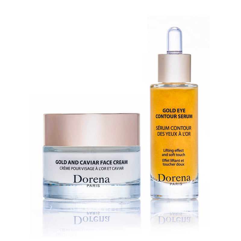 gold and caviar face cream, gold eye contour serum from Dorena cosmetics made in France.