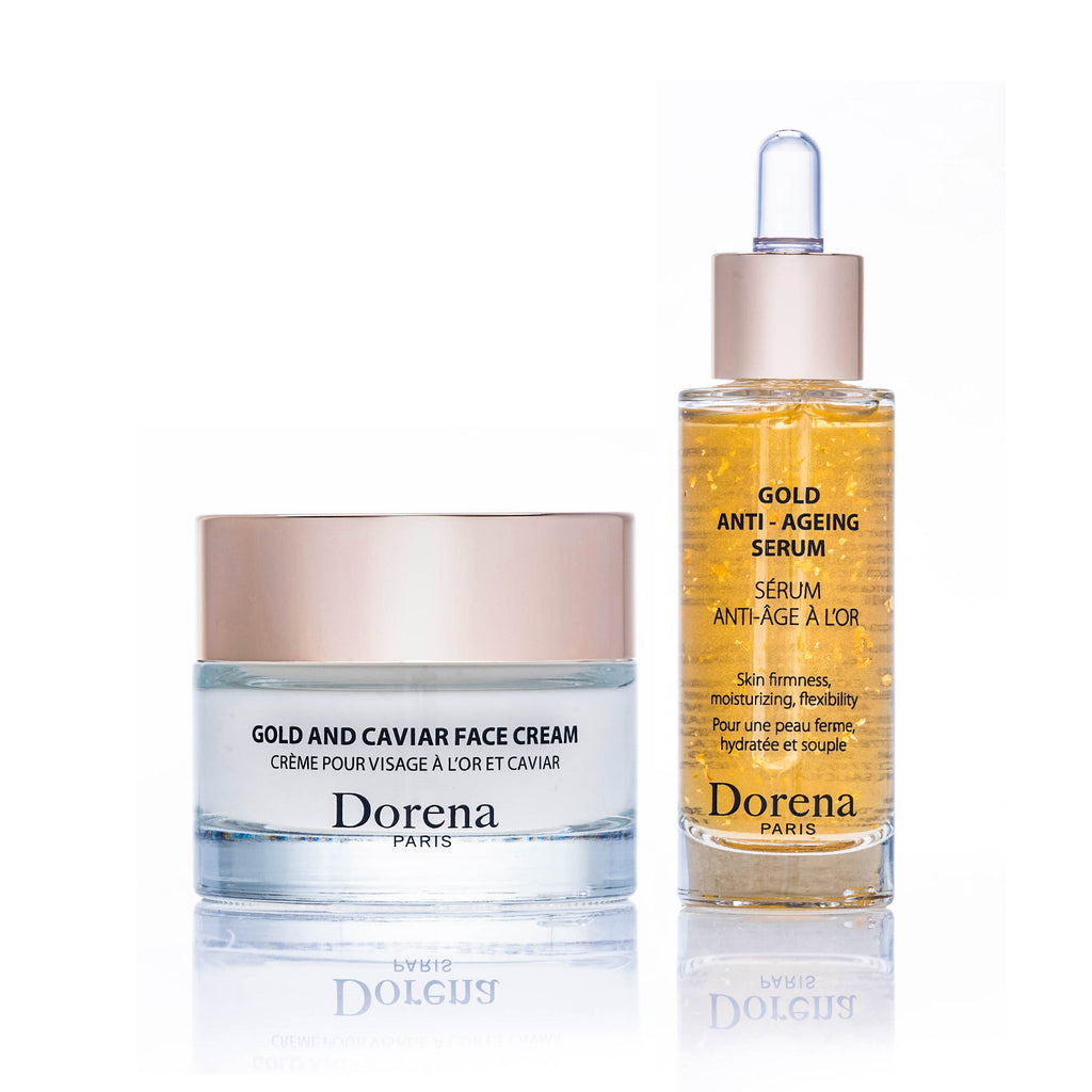 face cream and gold anti ageing serum from Dorena cosmetics made in France