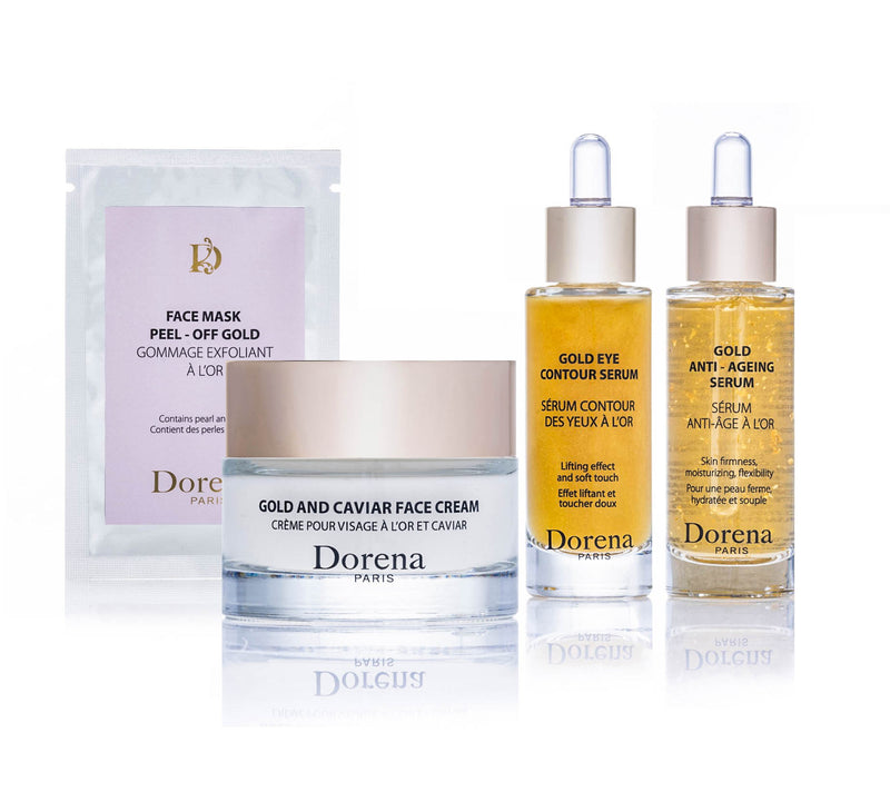 face mask peel off gold, gold and caviar face cream, gold eye contour serum, gold anti ageing serum from Dorena cosmetics made in France
