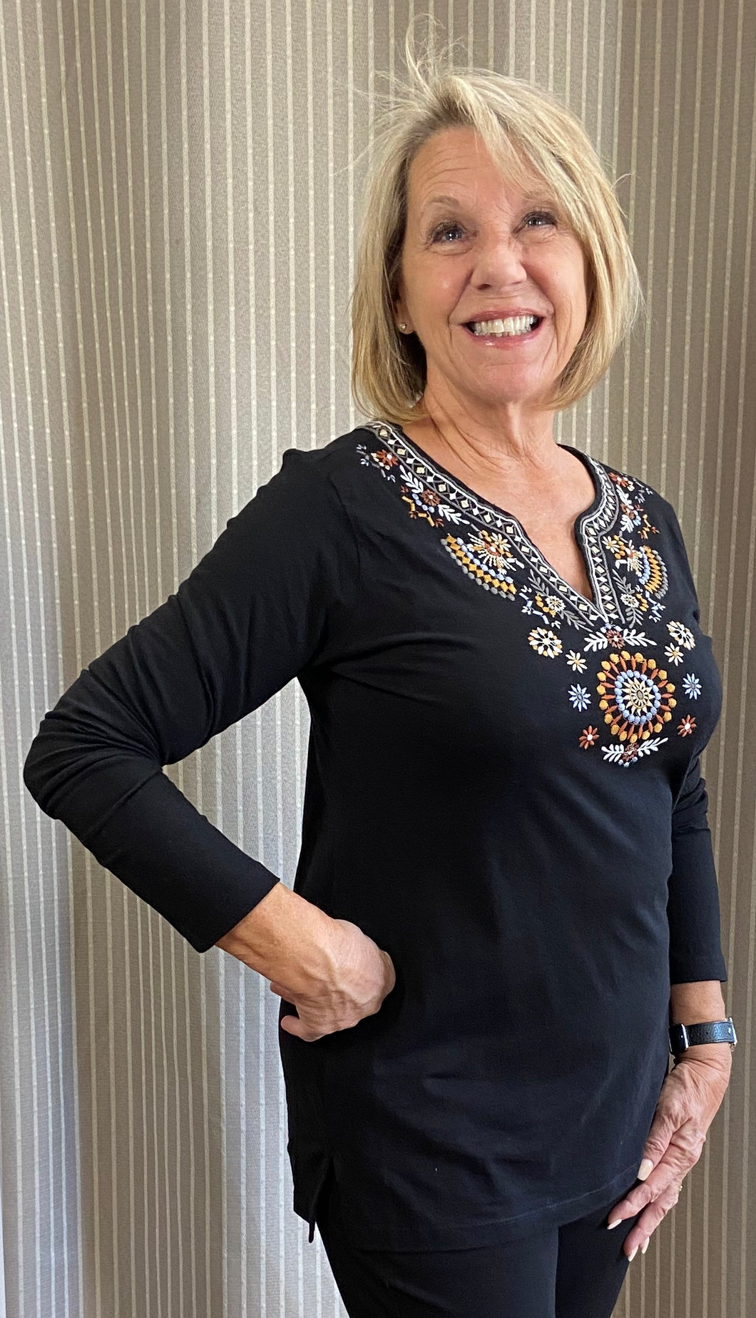 Black Embroidered V Neck Top