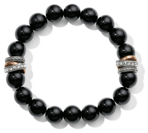 Neptune's Rings Black Agate Stretch Bracelet