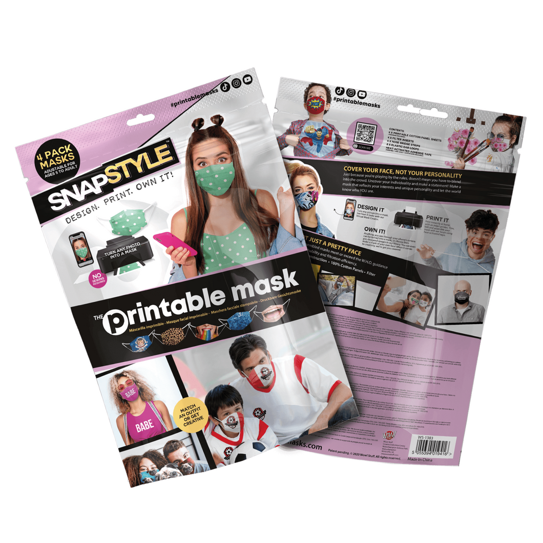 SNAPSTYLE - The Printable Mask, 4 Pack Kit