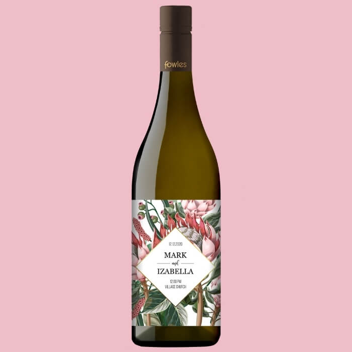A bottle of Fowles Wine Chardonnay with a FowlesDIY customised wine label