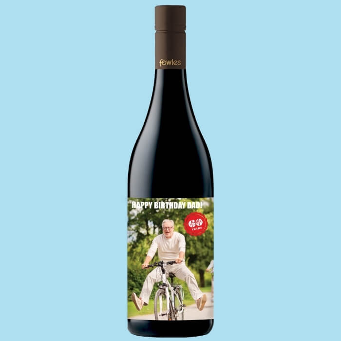 A bottle of Fowles Wine Pinot Noir with a FowlesDIY customised wine label