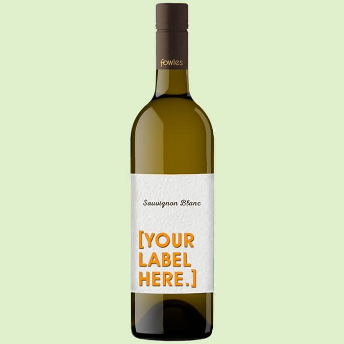 A bottle of Fowles Wine Sauvignon Blanc with a FowlesDIY customised wine label
