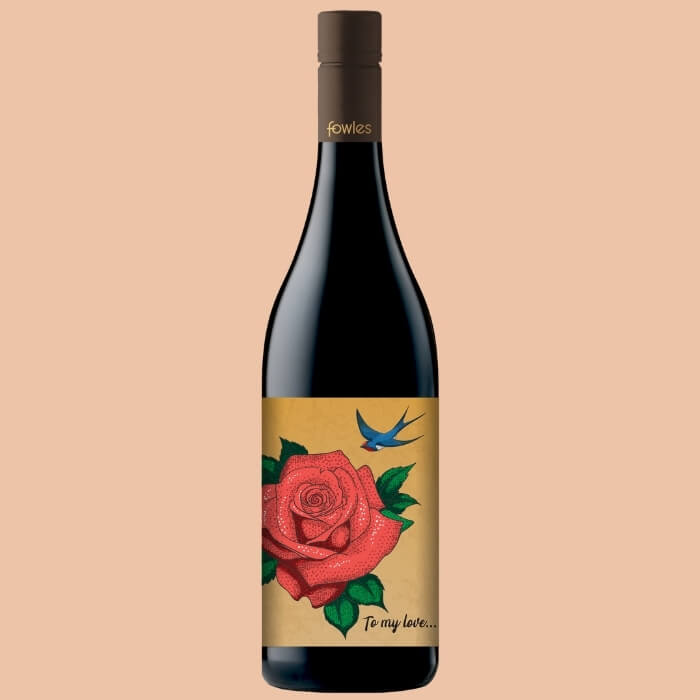 A bottle of Fowles Wine Shiraz with a FowlesDIY customised wine label