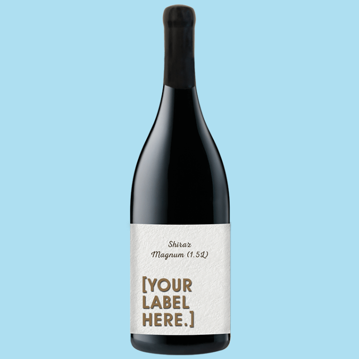 A bottle of Fowles Wine Shiraz Magnum with a FowlesDIY customised wine label