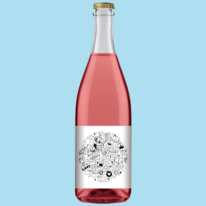 A bottle of Fowles Wine Sparkling Rose with a FowlesDIY customised wine label