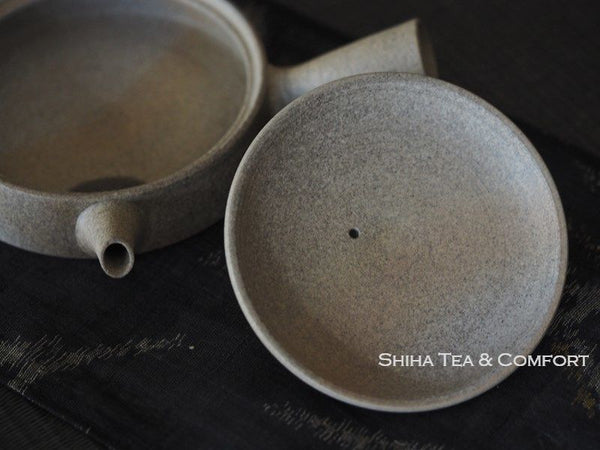 JINSHU Flat Natural Warm Gradation Kyusu with wood box 甚秋自然色冰壺
