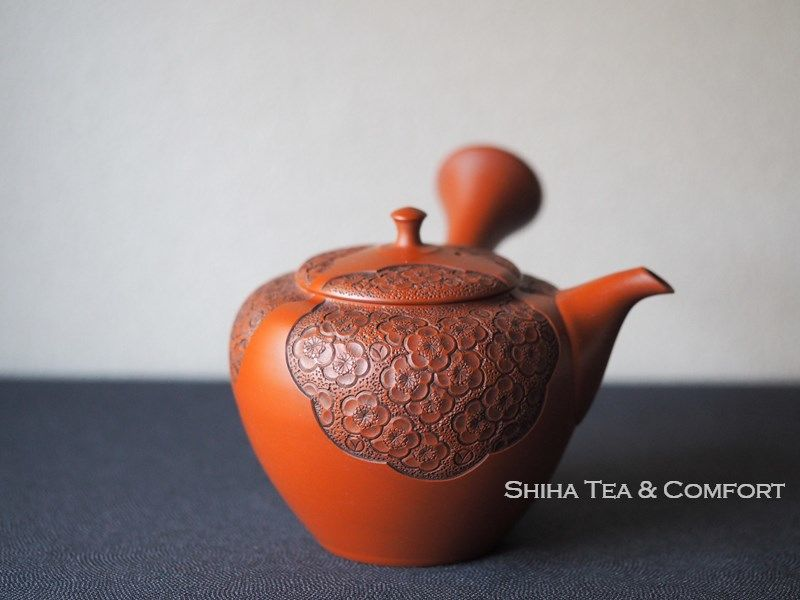 Shunen Plum blossoms Relief Carving Teapot 舜園梅彫