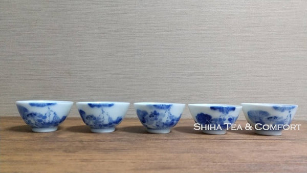 Antique Blue & White Porcelain Sencha Tea Cup Set 5 pcs 古董瓷杯