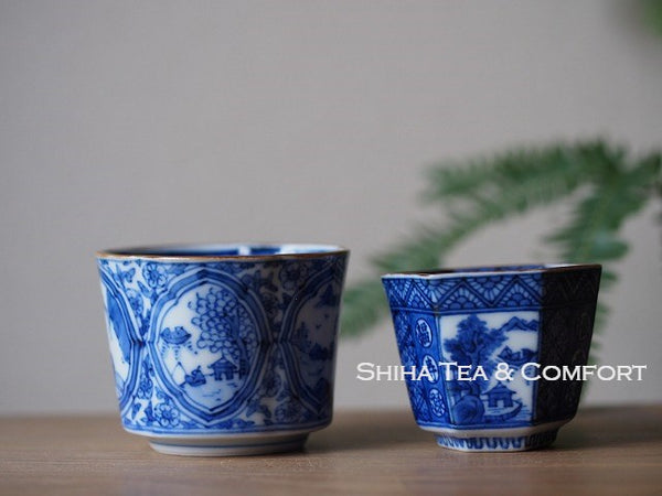 Kyoto Porcelain Blue & White Teacups Mountain and Water 2pcs