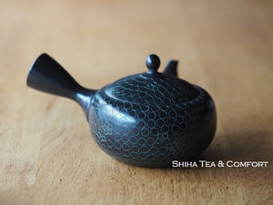 SHORYU  Inka stamp Black & Green Ceramic Teapot (30 years ago) 昭龍急須