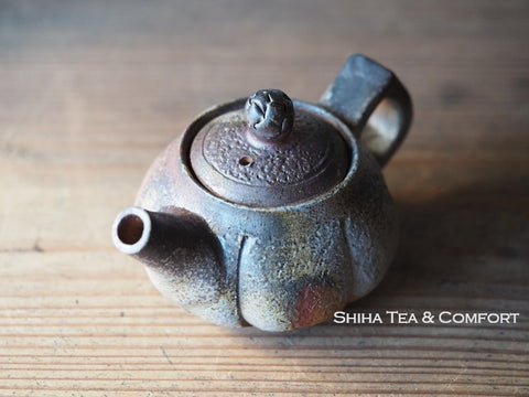 TAKASHI SAITO Bizen Pumpkin Back Handle Teapot 備前後手